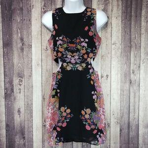 Cotton Candy black floral cutout side mini dress